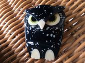 Owl Brooch by Lea Stein of Paris Black and White Buba Owl Pin (SOLD)